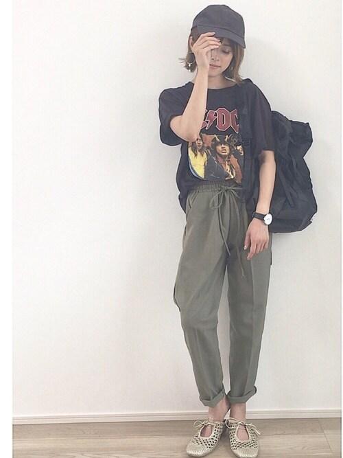 yunさんの「AC/DC コラボTシャツ(半袖)(SENSE OF PLACE by URBAN RESEARCH)」を使ったコーディネート