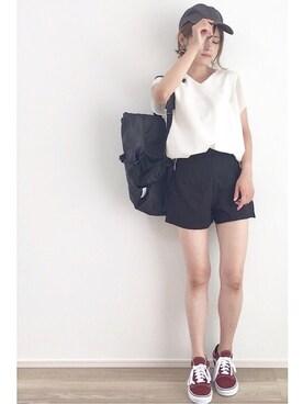 yunさんの「シアーTシャツ(半袖)(SENSE OF PLACE by URBAN RESEARCH|センス オブ プレイス バイ アーバンリサーチ)」を使ったコーディネート