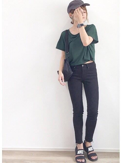 yunさんの「ショートビッグTシャツ(EMODA)」を使ったコーディネート