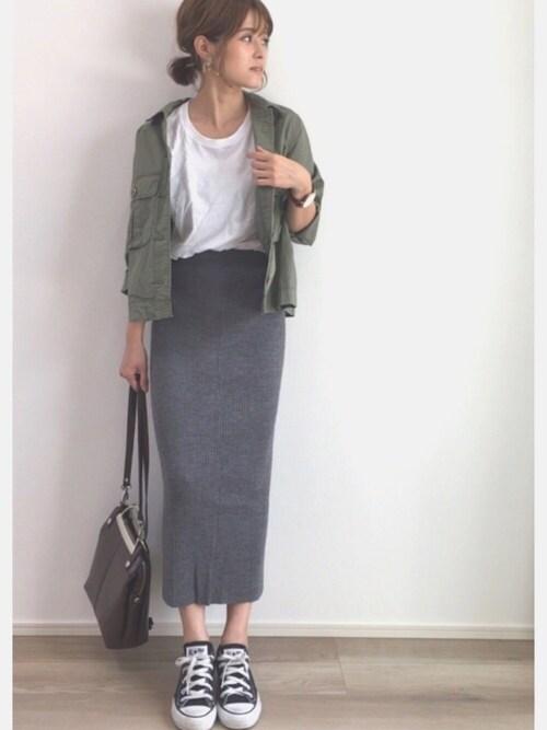 yunさんの「WOMEN メリノブレンドリブスカート(ユニクロ)」を使ったコーディネート