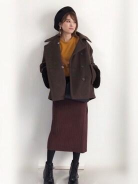 yunさんの「リブニットタイトスカート(210nouve トゥージュヌーブ)」を使ったコーディネート