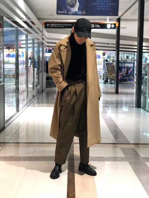 Lui's 札幌店TAKATONさんのチェスターコート「メルトンオーバーコート/ビッグシルエット(Lui's|ルイス)」を使ったコーディネート