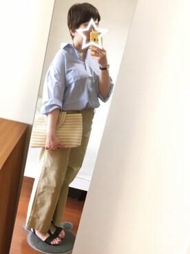 つなこさんの「先染めマーセビッグシャツ【niko and ...】(niko and...|シマムラ)」を使ったコーディネート