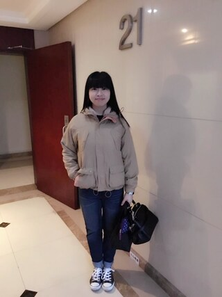 Jane-chanさんの「CONVERSE  コンバース LEATHER ALL STAR OX  レザーオールスターオックス  32143481  BLACK(CONVERSE|コンバース)」を使ったコーディネート