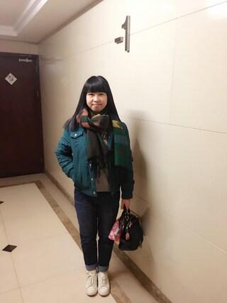 Jane-chanさんの「WOMEN スリムボーイフレンドフィットアンクルジーンズA(ユニクロ|ユニクロ)」を使ったコーディネート