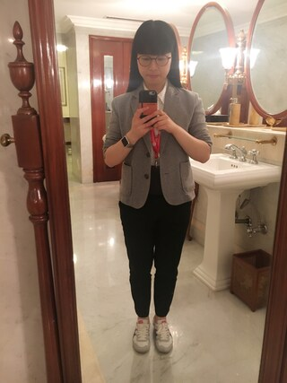 Jane-chanさんの「WOMEN スーピマコットンプリントシャツ(長袖)+E(ユニクロ|ユニクロ)」を使ったコーディネート