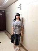 Jane-chanさんの「リサ・ラーソングラフィックT(半袖)(ユニクロ|ユニクロ)」を使ったコーディネート