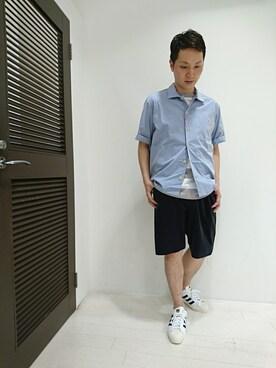Bshop グランフロント大阪店|ナカハラさんのシャツ/ブラウス「半袖ワークシャツ MSA MEN(Danton|ダントン)」を使ったコーディネート