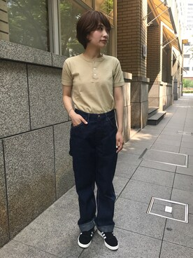 Bshop 神戸本店|TANABEさんの「ヘンリーネック Tシャツ WOMEN(ENTRY SG)」を使ったコーディネート