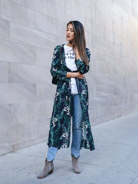 "Amy is wearing House Of Harlow1960 ""House of Harlow x REVOLVE Yoselin Maxi Bed Jacket"""