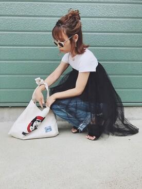 MIYABIさんの「WOMEN リブクルーネックT(半袖)(ユニクロ)」を使ったコーディネート
