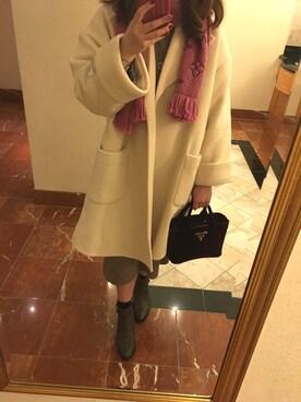 rikachoko.12さんの「ウールブレンドダブルカフスコート(Mila Owen)」を使ったコーディネート