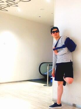 LACOSTE グランフロント大阪店|Inoさんの「コットンピケ ボーダーバスクシャツ (長袖)(LACOSTE|ラコステ)」を使ったコーディネート
