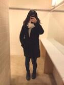 마 나さんの「WOMEN スーピマコットンメッシュクルーネックセーター(長袖)+E(ユニクロ|ユニクロ)」を使ったコーディネート