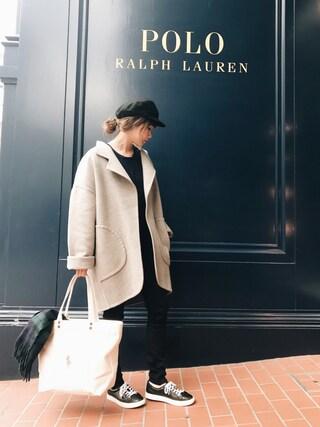 田中里奈さんの「ダブルフェイスド ウールブレンド コート(POLO RALPH LAUREN|ポロラルフローレン)」を使ったコーディネート