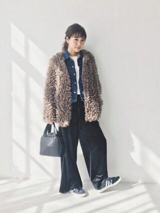 田中里奈さんの「バリエーションワイドパンツ(snidel|スナイデル)」を使ったコーディネート