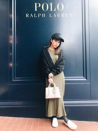 田中里奈さんの「フィット&フレア ドレス(POLO RALPH LAUREN|ポロラルフローレン)」を使ったコーディネート