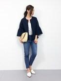 Kiiさんの「さっと羽織るのにちょうどいい ラッフルスリーブジャケット(haco!|ハコ)」を使ったコーディネート
