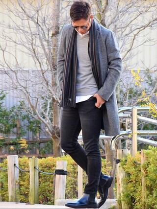 Shintaroさんの「MEN エクストラファインメリノVネックセーター(長袖)(ユニクロ|ユニクロ)」を使ったコーディネート