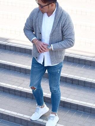 Shintaroさんの「MEN オックスフォードスリムフィットシャツ(長袖)+(ユニクロ ユニクロ)」を使ったコーディネート