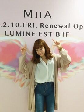 MIIA LUMINE EST新宿店|Haruka  Nakaniwaさんの「フリルスリーブコーディガン(MIIA|ミーア)」を使ったコーディネート