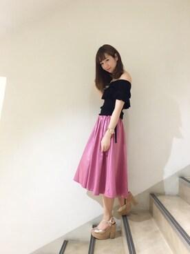 MIIA LUMINE EST新宿店|Haruka  Nakaniwaさんの「カラータックギャザースカート(MIIA|ミーア)」を使ったコーディネート