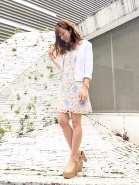 MIIA LUMINE EST新宿店|Haruka  Nakaniwaさんの「カットデニムノーカラージャケット(MIIA|ミーア)」を使ったコーディネート