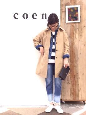 coen鹿児島店|coen あらーきさんの「ステンカラーコート(coen)」を使ったコーディネート