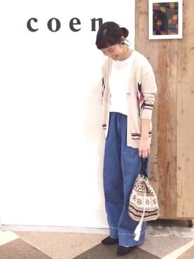 coen鹿児島店|coen あらーきさんの「USAコットンクルーネックポケットTシャツ(coen)」を使ったコーディネート