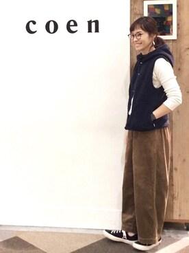coen鹿児島店|coen あらーきさんの「【昨年大ヒット・追加予約】フーデッドボアベスト(ベージュ→WEB限定)(coen)」を使ったコーディネート