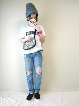CHAMUさんの「ELKHORN ロゴTシャツ(coen)」を使ったコーディネート