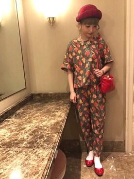 pan *さんの「☆パウダーブッチャー チューリップオリジナルプリント キモノスリーブ ブラウス☆(Dot&Stripes CHILD WOMAN)」を使ったコーディネート