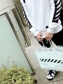 「Spray Stripes Zip-Up Cotton Sweatshirt(off white)」 using this 大樹 looks