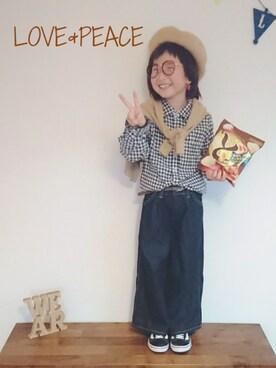 3時のおやつさんの「Wrangler×AZULデニムワイドパンツ(AZUL by moussy|アズールバイマウジー)」を使ったコーディネート