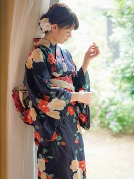 ayanoさんの「3点セットツバキ浴衣(GRL)」を使ったコーディネート