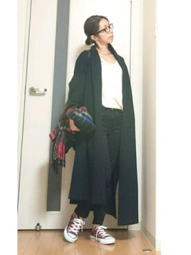 Tomomiiiさんの「《予約》*スムースニットガウンコート(Deuxieme Classe|ドゥーズィエムクラス)」を使ったコーディネート
