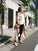 Tomomiiiさんの「リボン付シャツワンピース(philter|フィルター)」を使ったコーディネート