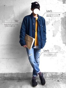 まーしい🇫🇷さんの「Commuter Work Jacket Majolica Blue(501)」を使ったコーディネート