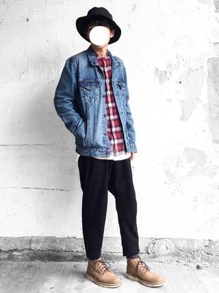 「デニムジャケット-ライトカラー/14.3oz デニム(Levi's)」 using this まーしい looks