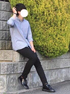 しゅーたさんの「エクストラファインコットンブロードチェックシャツ(長袖)(UNIQLO|ユニクロ)」を使ったコーディネート