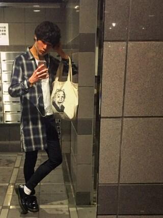 Tetsuさんの「【SUPIMAコットン使用】VネックTシャツ/560079(RAGEBLUE|レイジブルー)」を使ったコーディネート