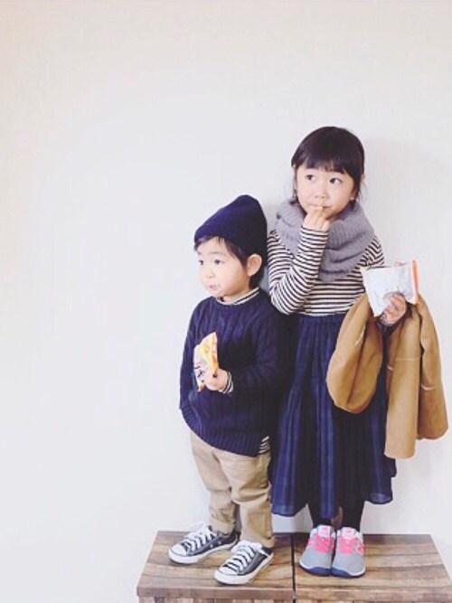 miiio++さんの「GIRLS リブボーダーハイネックT(長袖)(ユニクロ)」を使ったコーディネート