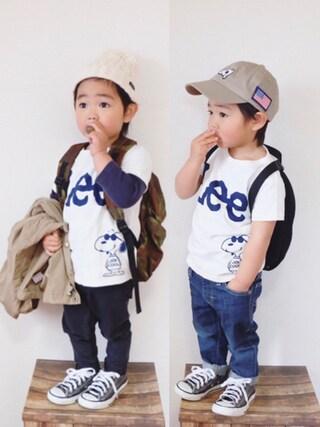 miiio++さんの「【Lee×Peanuts】スヌーピーロゴTシャツ(Lee リー)」を使ったコーディネート