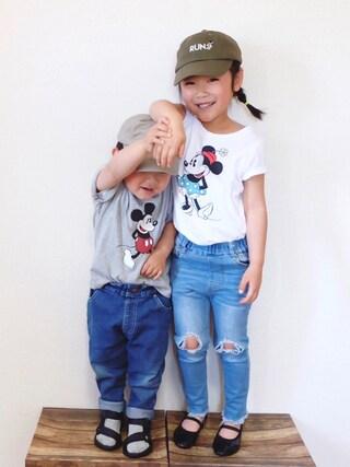 miiio++さんの「BOYS ディズニーコレクショングラフィックT(半袖)(ユニクロ|ユニクロ)」を使ったコーディネート