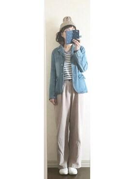 しほこさんの「ケーブル編みニットキャップ【PLAIN CLOTHING】(PLAIN CLOTHING)」を使ったコーディネート