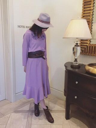 Rose Tiara | eikoさんのスカート「Rose Tiara 圧縮ニットイレギュラーヘムフレアースカート」を使ったコーディネート