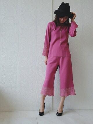 Rose Tiara | eikoさんのニット/セーター「Rose Tiara 刺繍レースフレアスリーブニットプルオーバー」を使ったコーディネート