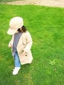 "MIYA is wearing SHIPS ""SHIPS KIDS:ワンポイント ロゴ キャップ"""