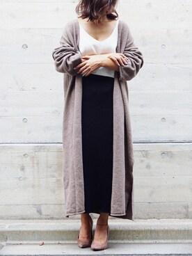 yuuuukaさんの「WOMEN メリノブレンドリブスカート(ユニクロ)」を使ったコーディネート