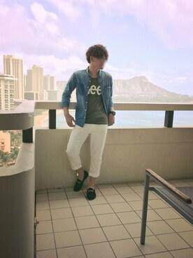 Tsuyoshiさんの「【LEE】ビッグロゴTシャツ(Lee リー)」を使ったコーディネート